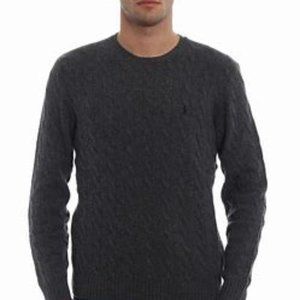 Men's Cashmere Wool Blend Cable Knit Sweater Sz XL